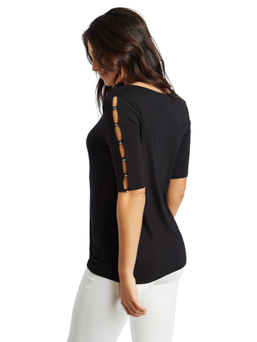 Studded Slit Sleeve Stretch Jersey Tee