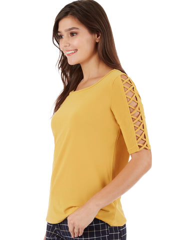 Crystal Crepe Ladder Sleeve Shirt