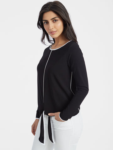 Tie Waist Crepe Long Sleeve Top