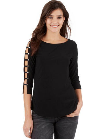 Crystal Crepe Sparkle Ladder Sleeve Shirt