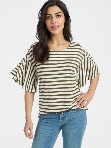 Crystal Crepe Low V-Neck Top