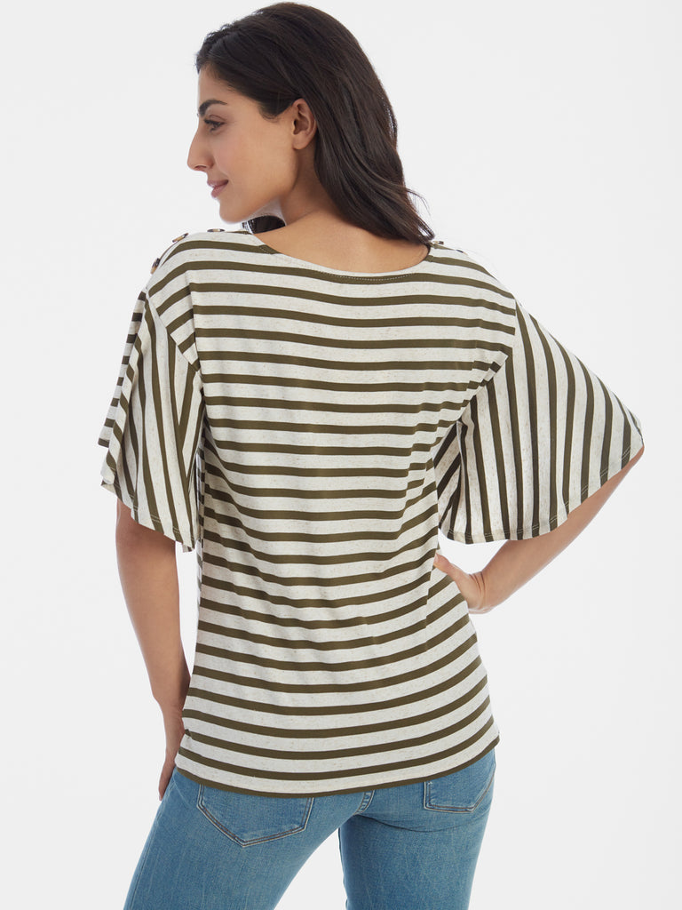 Linen Blend Slub Striped Button Trim Bell Sleeve T-Shirt