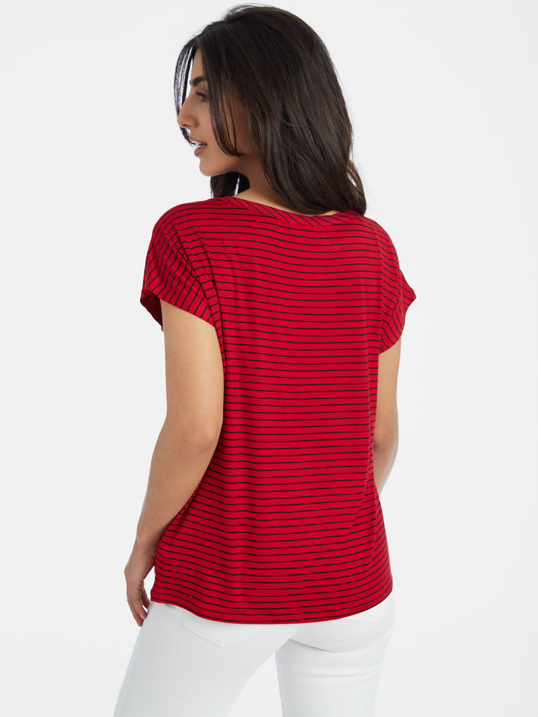 Striped Button Pocket Short Sleeve T-Shirt