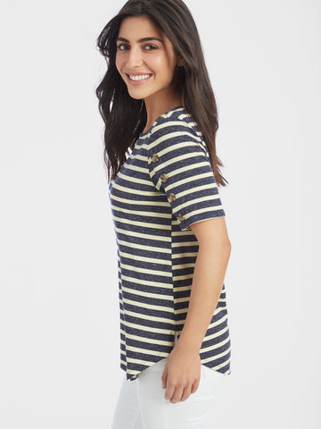 Linen Blend Slub Striped Button Trim T-Shirt