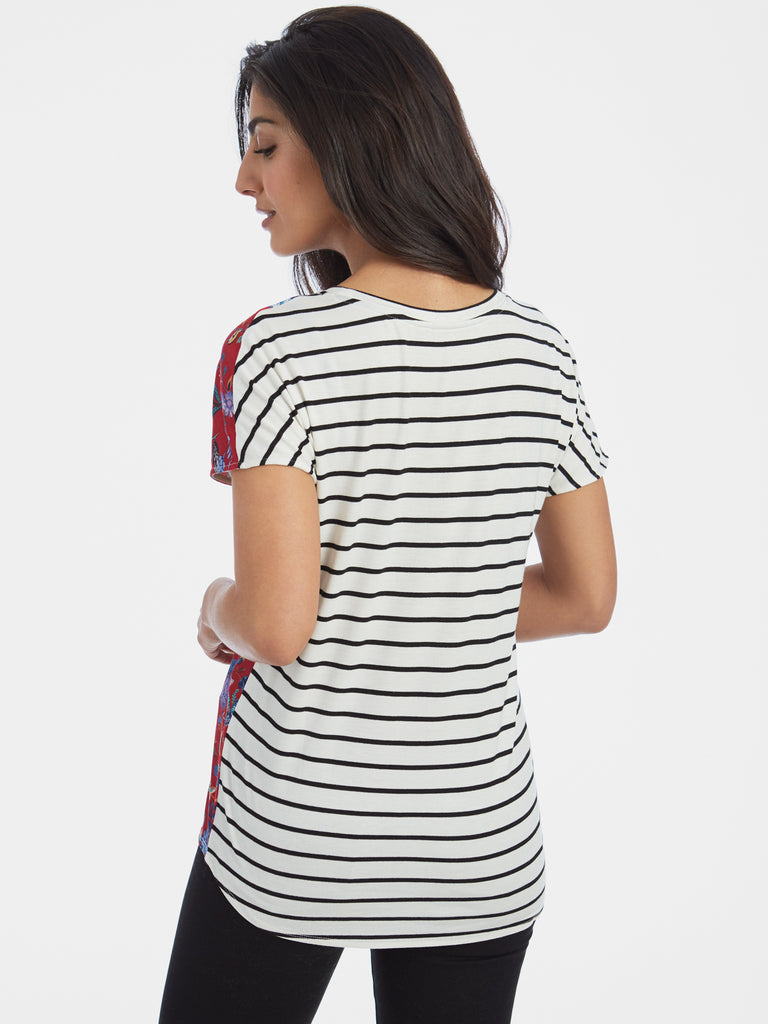 Floral and Striped Stretch Jersey T-Shirt