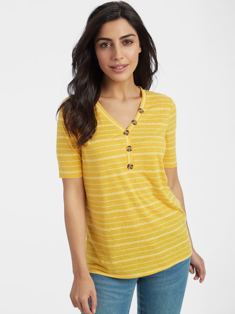 Linen Blend Slub Striped Button Trim V-Neck T-Shirt