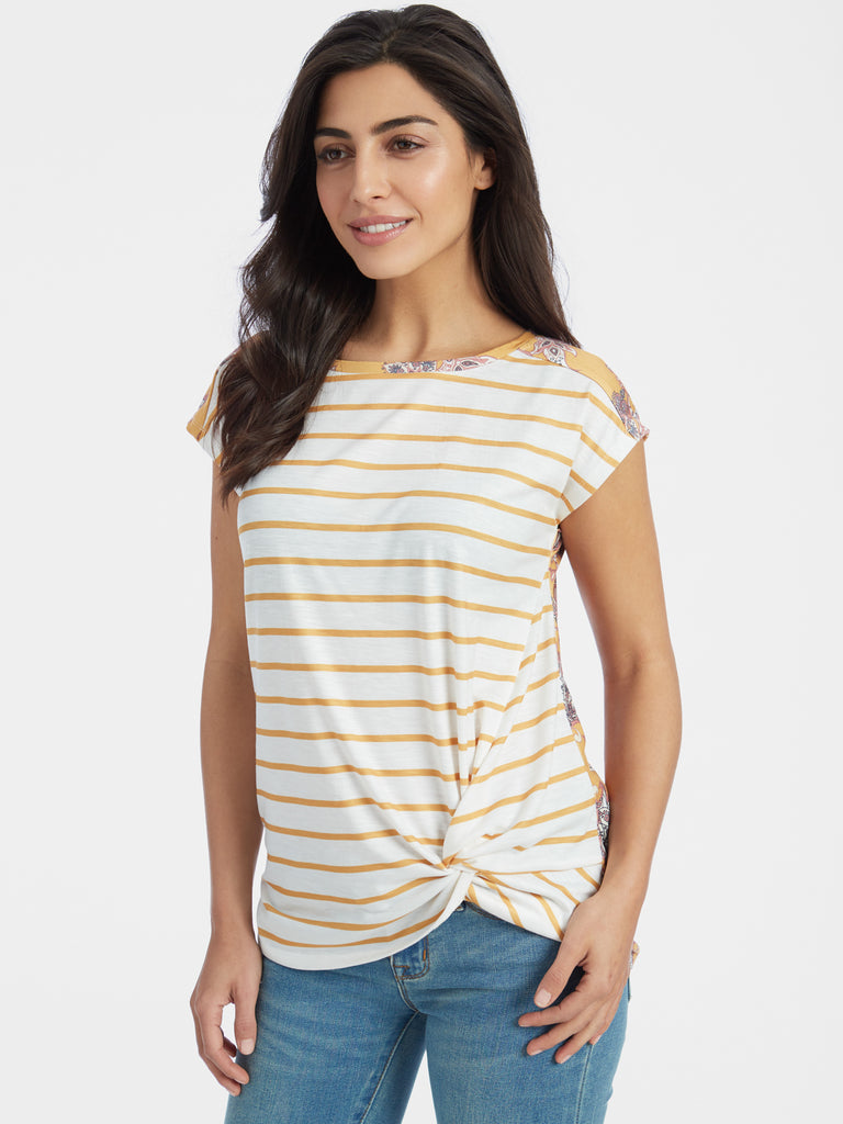 Knotted Side Stretch Jersey T-Shirt