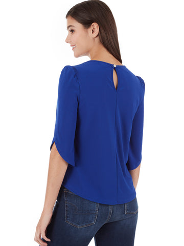Crystal Crepe Tulip Sleeve Shirt