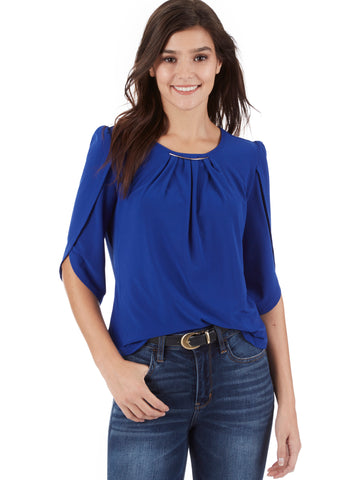 Lurex Trimmed V-Neck Top