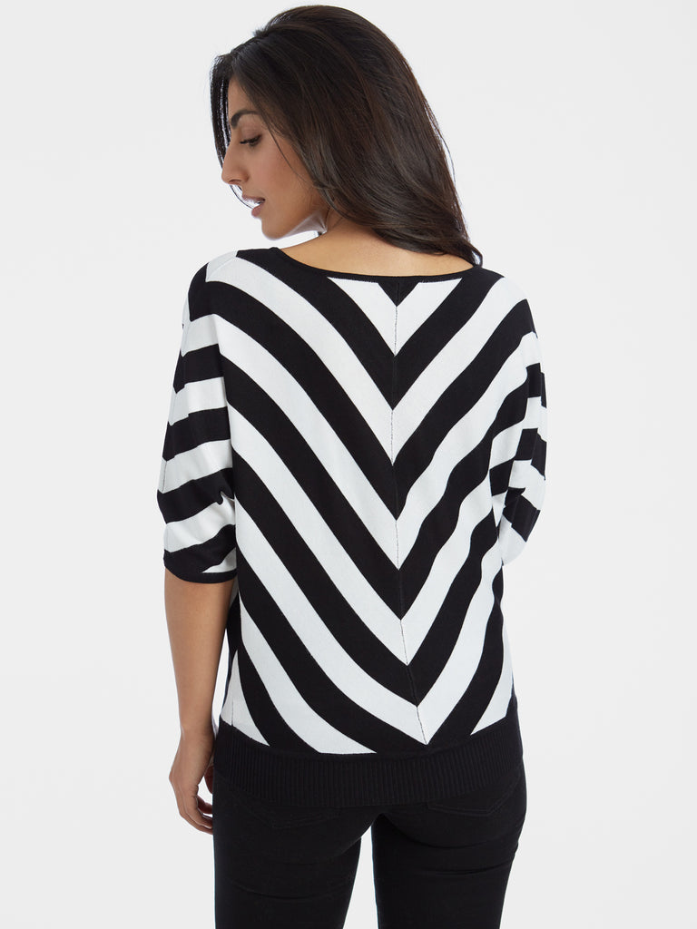 Chevron Short Dolman Sleeve Sweater Top