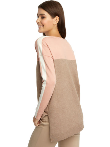 Colorblock Asymmetrical Hem Crewneck Sweater