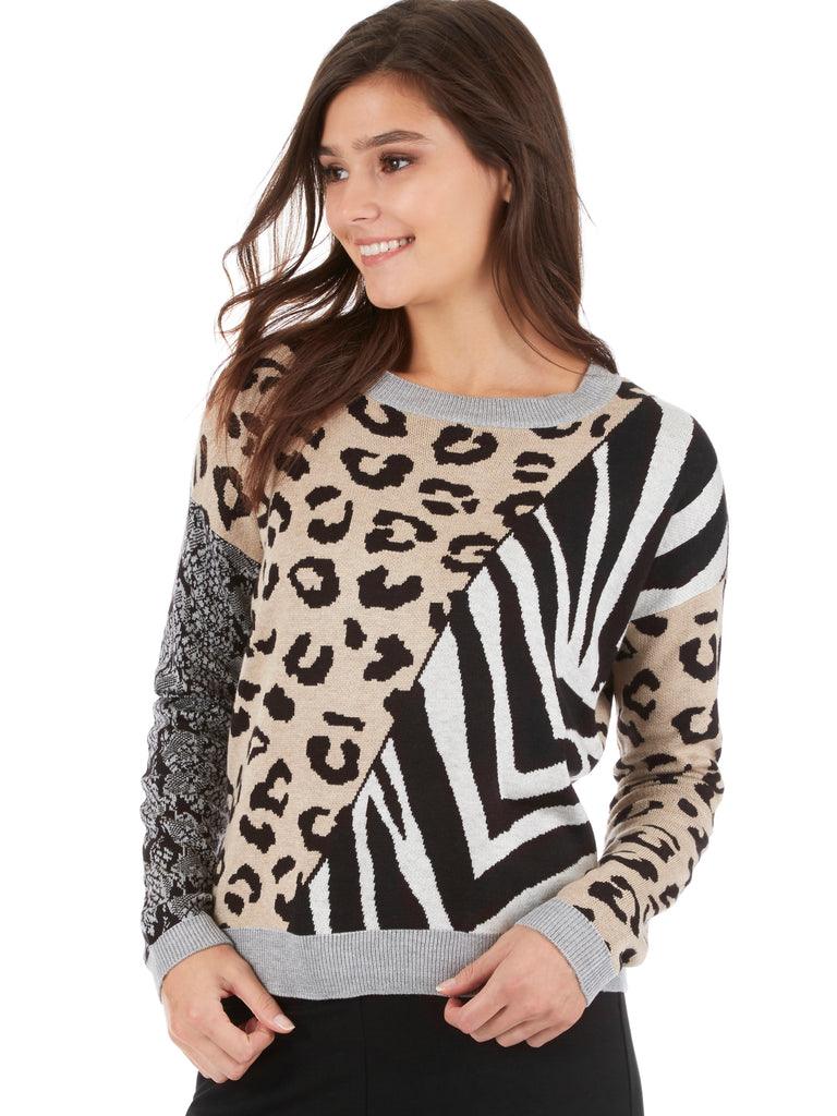 Mixed Animal Print Drop Sleeve Sweater