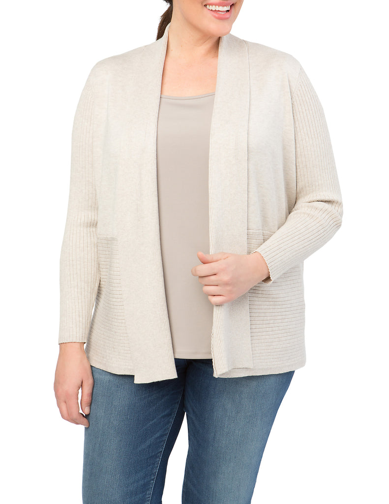 Contrast Rib Open Front Cardigan