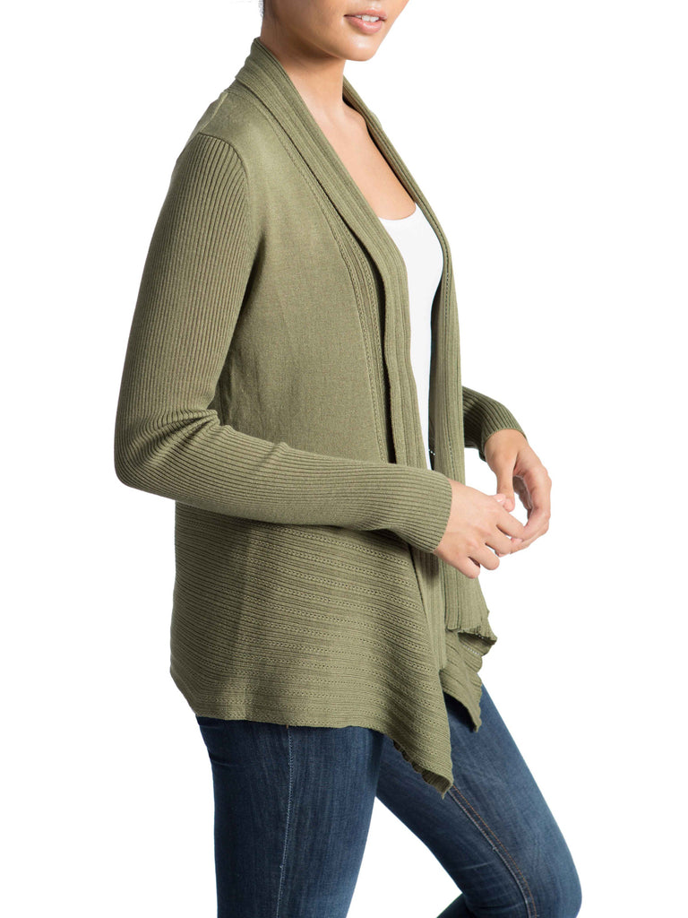 Handkerchief Hem & Ribbed Cardigan