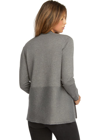 Contrast Rib Open Front Cardigan with Tipping
