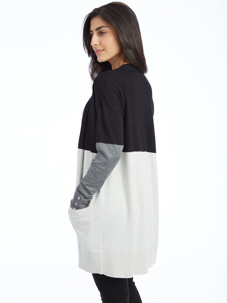 Colorblock Open Front Duster Cardigan with Pockets