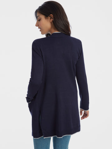 Contrast Tipping Open Front Duster Cardigan with Pockets