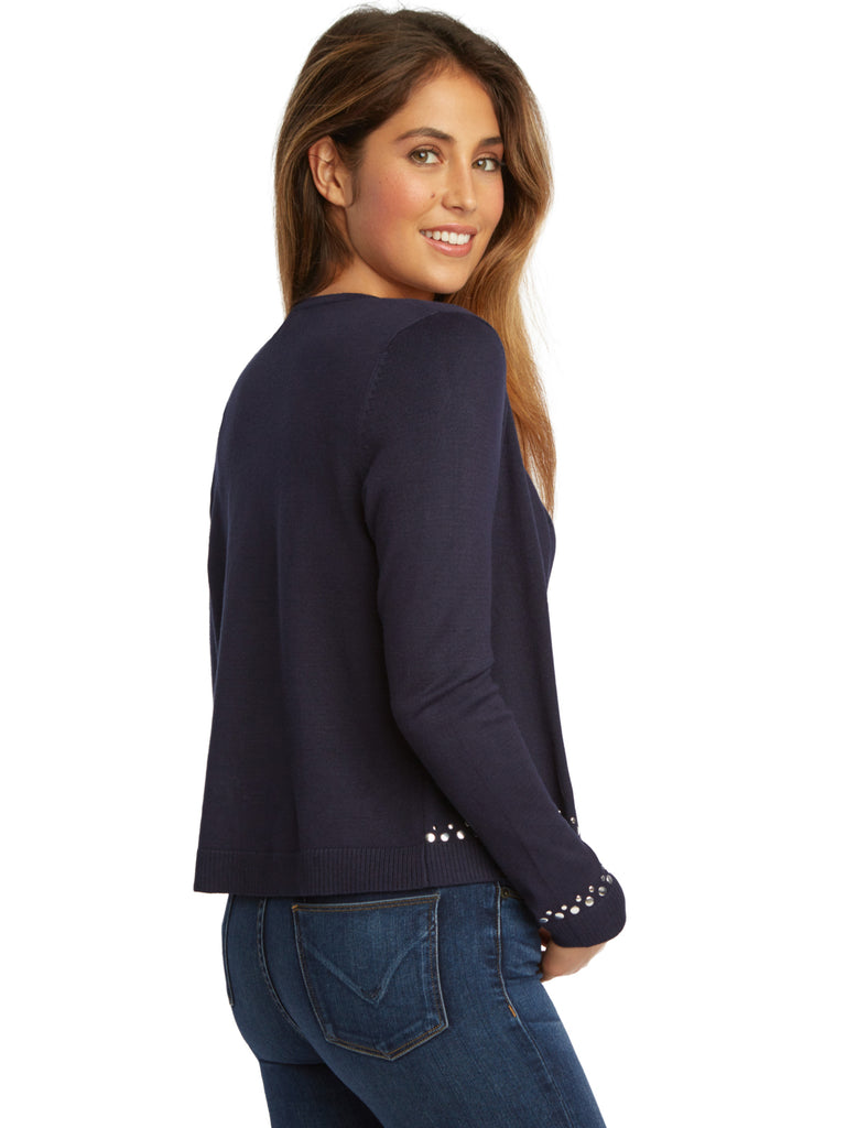 Studded Trim Button Front Cardigan