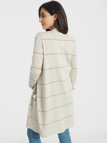 Striped Open Front Duster Cardigan with Pockets