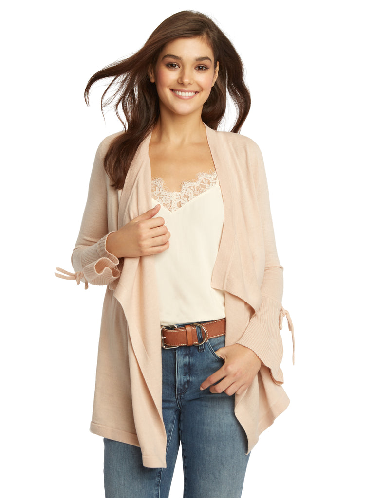 Draped Open Front Tie Sleeve Cardigan