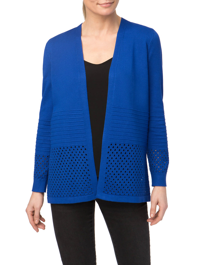 Hole Punch Open Front Cardigan