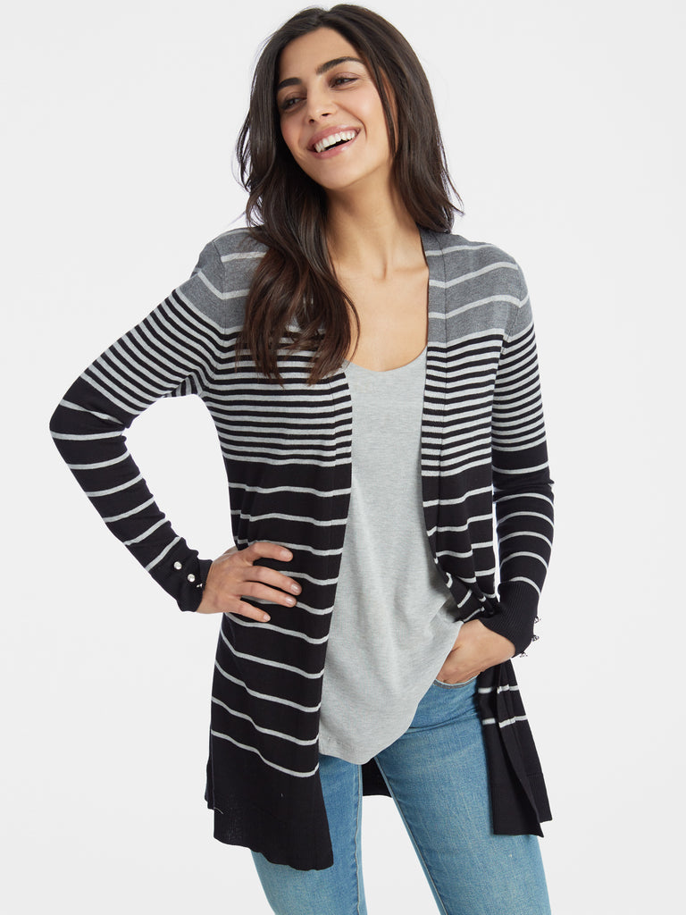 Graduated Stripe Open Front Duster Cardigan