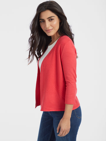 Ribbed Pointelle Back Duster Cardigan