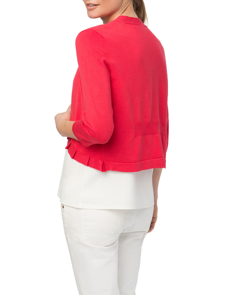 Pleated Collar Open Front Cardigan Shrug