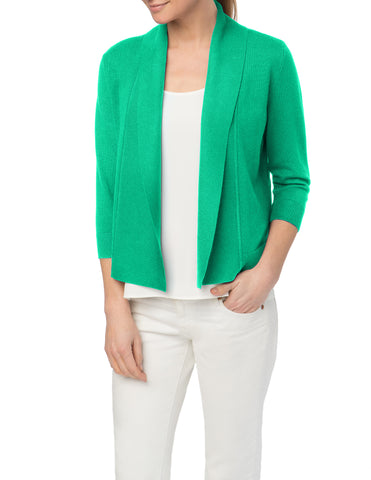 Ribbed Colorblock Open Front Cardigan