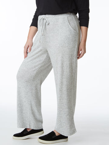 Plus Hacci Wide Leg Drawstring Comfort Trouser