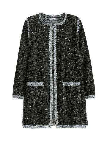 Marled Knit Pocket Duster Cardigan