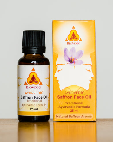 Bio Veda Saffron Face Oil with box - traditional Kumkumadi formula