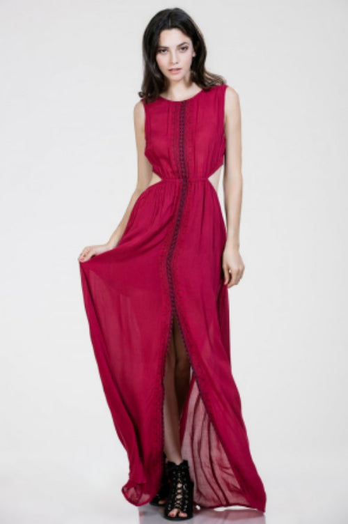 Stunning Wine Colored Maxi Dress Maggie Chic Boutique