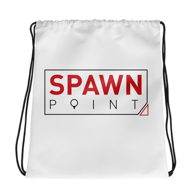 SpawnPoint Red And Black Logo Drawstring bag