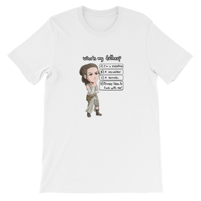 "Rey ""Who is my father?"" Short-Sleeve Unisex T-Shirt"