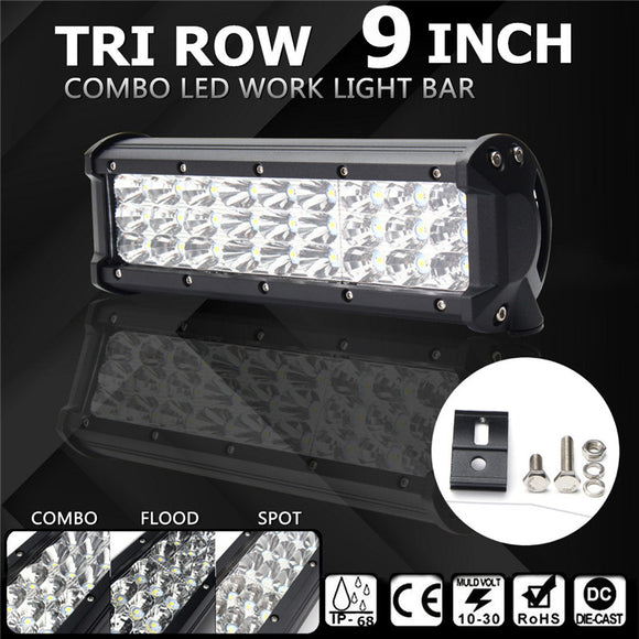 9Inch Waterproof IP68 81W 27LED Tri Row Spot Flood Combo Driving Light - Toyz For The Boyz,  - Man Cave Gear,