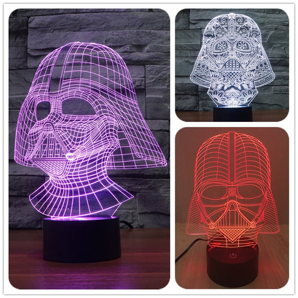 3D LED DARTH VADER  Hologram Cool Night Lights Mood Lamp Rechargeable - Toyz For The Boyz,  - Man Cave Gear,
