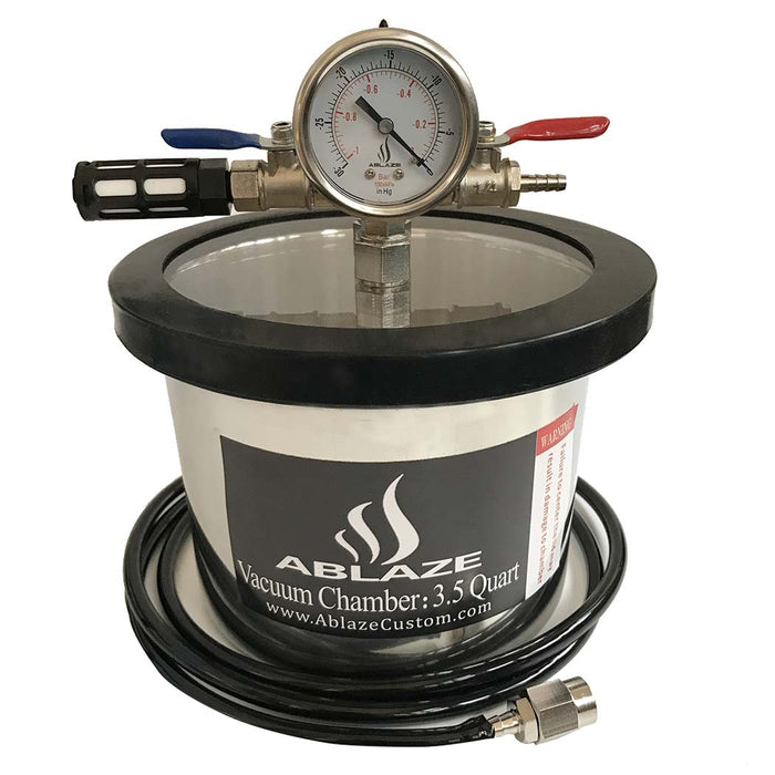 ABLAZE 3.5 Quart Stainless Steel Vacuum Degassing Chamber and 3 CFM Single Stage Pump Kit