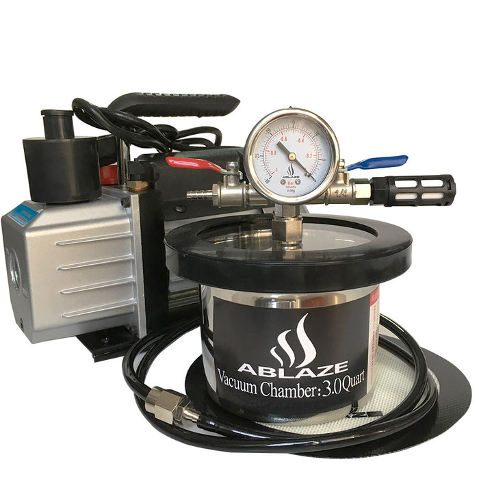 ABLAZE 2 Quart Stainless Steel Vacuum Degassing Chamber and 3 CFM Single Stage Pump Kit
