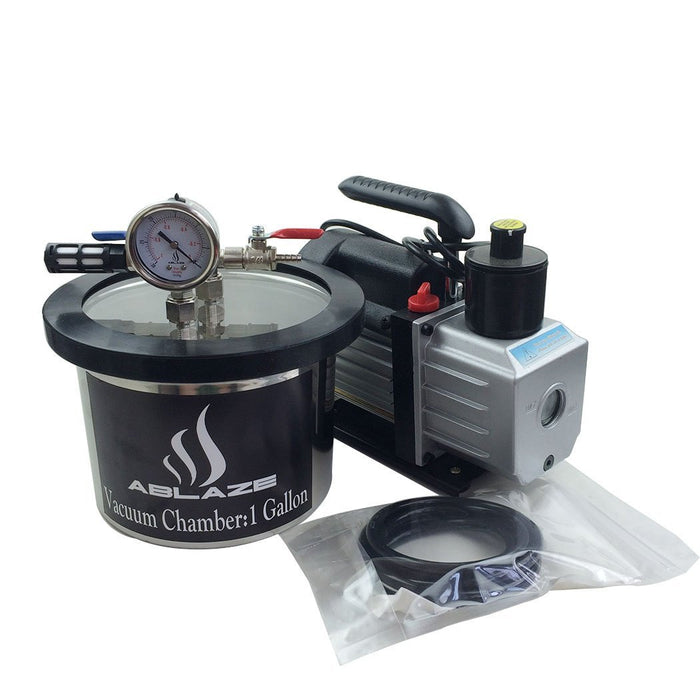 ABLAZE 1 Gallon Stainless Steel Vacuum Degassing Chamber and 3 CFM Single Stage Pump Kit