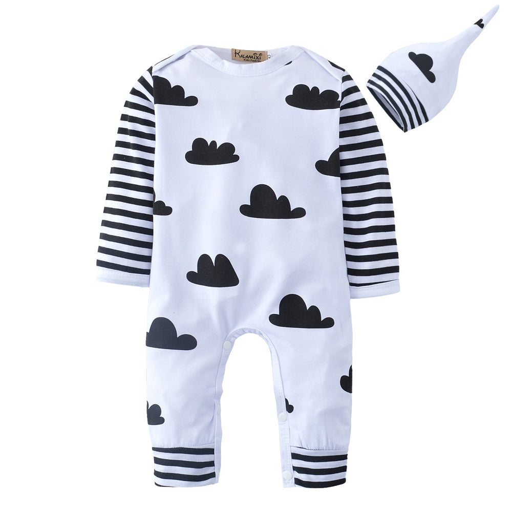 Baby's Cloud Printed Long Sleeve Bodysuit and Hat Set