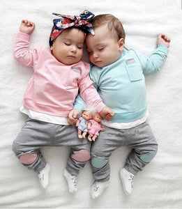 Two Pieces Outfit  - Crewneck Top and Sweatpants Bottom for Baby Boys and Girls