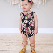 2-piece Black Tassel Floral Sleeveless Bodysuit and Headband for Baby Girl