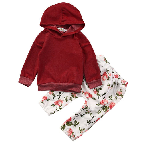 2pcs - 2-piece Prenium Red Long Sleeve Hoodie And Pants Set For Baby Girls