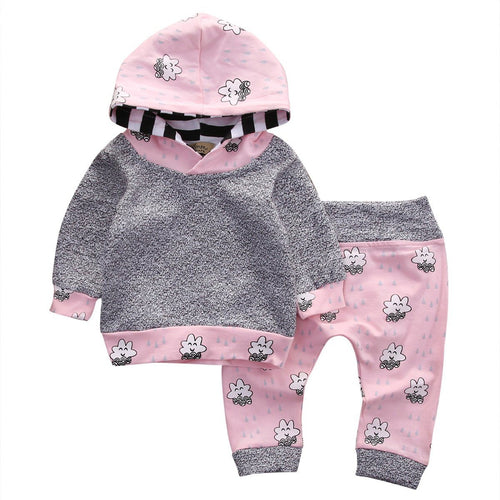 2pcs - Cute Cloud Print Hooded Top And Pants Set For Baby Girl