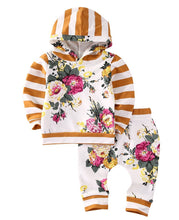 2pcs - Floral Striped Hooded Long-sleeve Top And Pants Set For Baby Girl