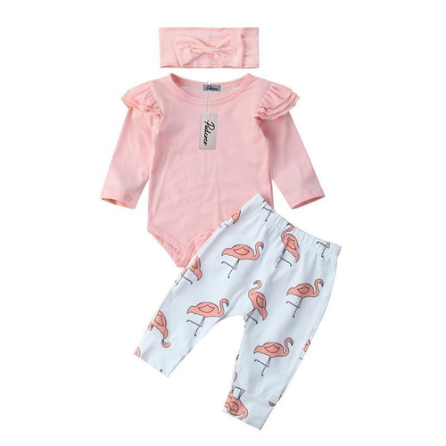 Cute Ruffle Sleeves Bodysuit & Flamingo Prints Outfit