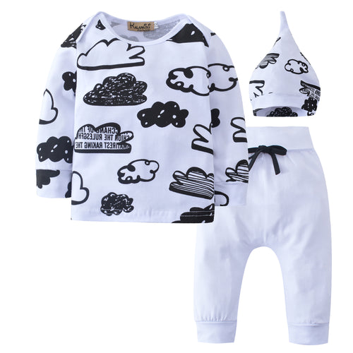 3-piece Cloud Printed Top Hat and White Pants Set