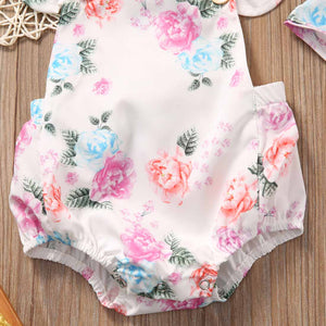 Adorable Floral Bodysuit & Headband Two-piece Outfit for Baby Girl