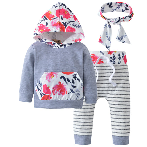 3-piece Floral Set for Baby Girls- Top, Pants & Headband